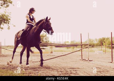 Photo de jeune fille son cheval équitation Banque D'Images