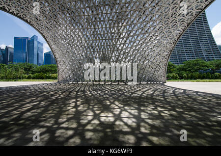 Singapour CBD salon vu de l'avenir Nous joindre Pavillon des expositions. Le pavillon sont en aluminium et non pas Banque D'Images