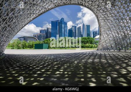 Singapour CBD salon vu de l'avenir Nous joindre Pavillon des expositions. Le pavillon sont en aluminium et non pas a se transformer en un monument permanent.