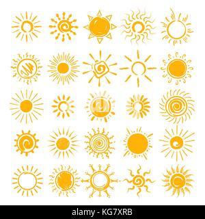 Vector illustration. soleil soleil, mains tirées des icônes cartoon doodle croquis d'été matin soleils isolé sur Banque D'Images
