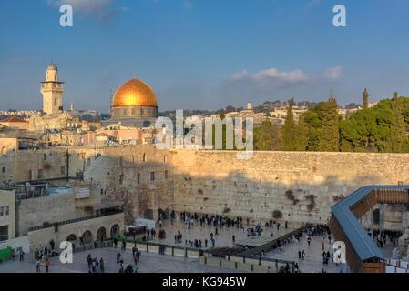 Mur occidental dans la vieille ville de Jérusalem, Israël. Banque D'Images