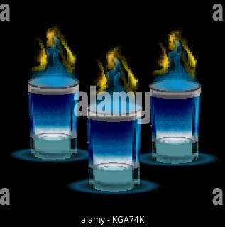 Cocktail de tir réaliste avec le feu. Verre 3d, pour les restaurants, bars collection. isolé sur un fond noir. vector illustration