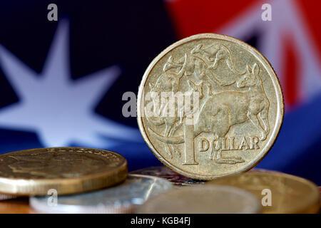 Pièce d'or d'un dollar australien représentant un kangourou. Banque D'Images