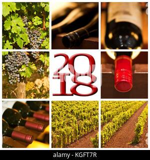 Vin rouge 2018 photos carrées collage carte de souhaits Banque D'Images