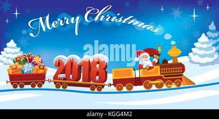 Nouvelle année 2018 et le père Noël dans un petit train avec des cadeaux, bonhomme de neige et l'arbre de Noël.