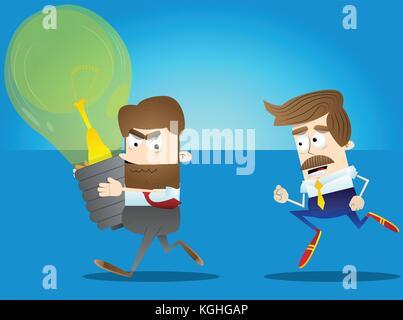 Employé de bureau d'affaires avec l'idée d'exécution d'un autre homme d'affaires. vector cartoon illustration. Banque D'Images