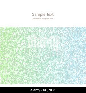 Vector background ornementé avec copie espace, lumière bleue et verte ornement isolé sur la page blanche Banque D'Images