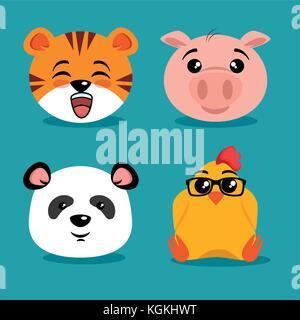 Animaux mignon cartoon vector illustration graphic design Banque D'Images