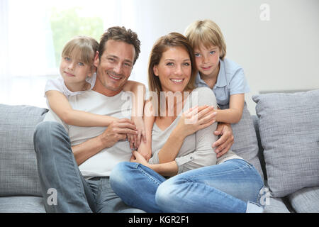 Happy Family relaxing at home Banque D'Images