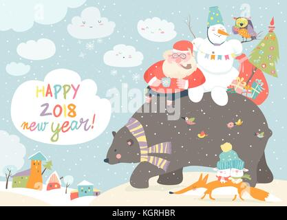 Père Noël avec Bonhomme à cheval sur l'arrière de friendly bear