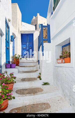 Les rues de chora à amorgos island, Grèce Banque D'Images