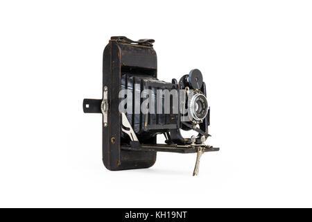 Au début du xxe siècle, les bouchers Watch Pocket Carbine 120 film camera, 1910-1920, isolé sur un fond blanc. Banque D'Images
