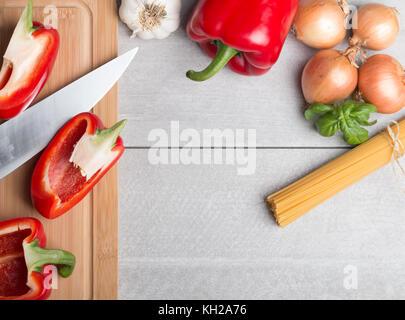 Divers légumes avec des pâtes Banque D'Images