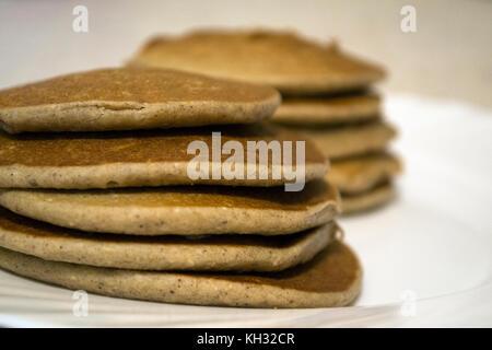 Aucun sucre avoine et pancakes à la banane Banque D'Images