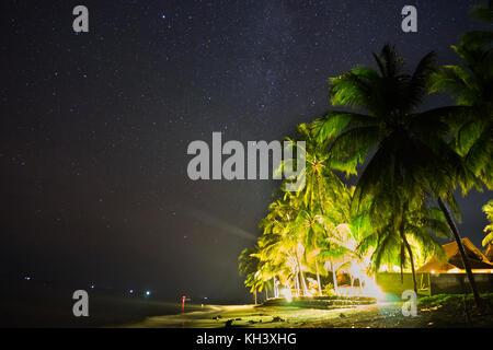 Night Sky Stars sur plage avec chambre et palmiers Banque D'Images