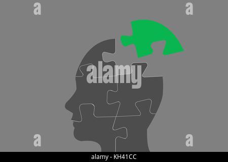 Concept de l'environnement vecteur contenant la tête de la silhouette d'un manager composé de pièces de puzzle. Banque D'Images