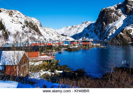 Nusfjorden flagstadøya nusfjord,,, Lofoten, Nordland, Norvège, mars 2017 Banque D'Images