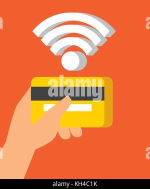 Concept de communication en champ proche de la technologie de l'icône de paiement sans contact Banque D'Images