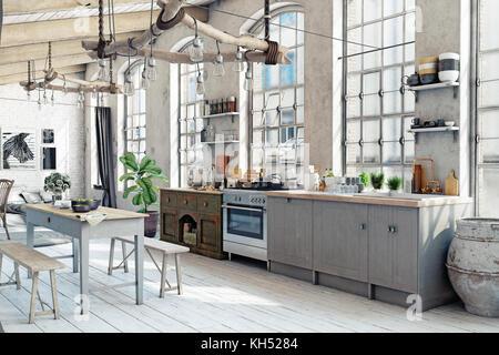 Loft grenier cuisine intérieur. Concept de rendu 3D Banque D'Images