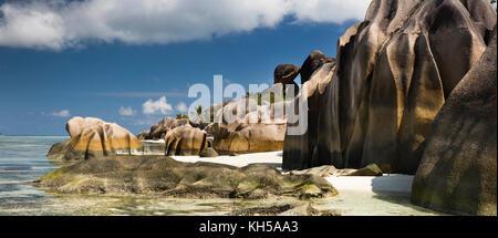 Les Seychelles, La Digue, L'Union Estate, Anse Source d'argent beach, vue panoramique Banque D'Images
