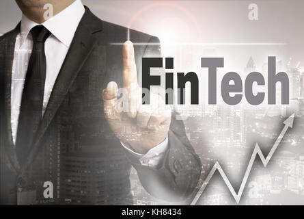 Fintech est montré par businessman concept. Banque D'Images