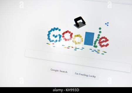 Google spécial recherche accueil page célébrer 131 ans du poinçon Banque D'Images