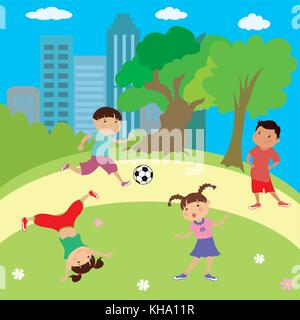 Enfants jouant dans le parc, les garçons et les filles, le cartoon vector illustration Banque D'Images