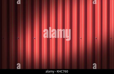 Clôture faite de panneaux en métal d'une couleur rouge à l'extérieur Banque D'Images