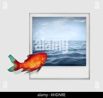 Image surréaliste isolé sur fond blanc représentant un poisson rouge qui plongent à partir d'un livre blanc en photo Banque D'Images