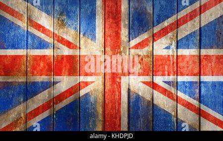 Grunge uk drapeau sur une surface en bois Banque D'Images