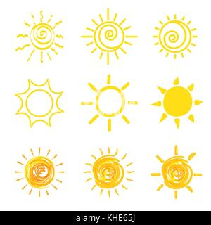 Ensemble d'icônes soleil jaune Banque D'Images