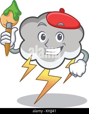 Cartoon caractères artiste thunder cloud Banque D'Images