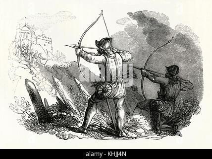 Une gravure ancienne représentant des archers à l'aide d'arcs à l'époque médiévale. Au Moyen Âge Les gallois et Banque D'Images