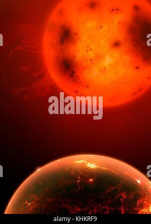 Illustration de l'exoplanète kepler 1649b. cette planète rocheuse (terrestres), légèrement plus grande que la terre, Banque D'Images