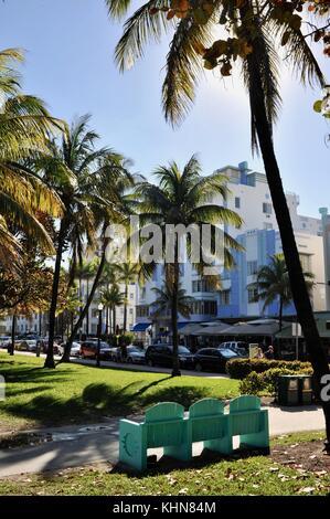 Visages bâtiment Art déco et design à South Beach, Miami, Floride, USA. Banque D'Images