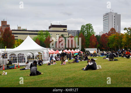 Les Japonais se détendre et s'amuser dans un parc public de Kanazawa, Japon Banque D'Images