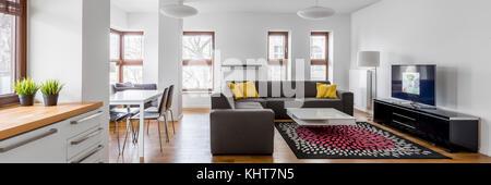 Vue panoramique de la kitchenette au salon ouvert dans un appartement moderne Banque D'Images