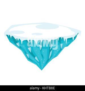 Vector cartoon illustration de jeu île de glace, isolé sur fond blanc. jeu utilisateur (GUI) pour les jeux vidéos, Banque D'Images