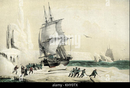 Dumont d'Urville corvette astrolabe réalisé au pôle sud magnétique piégé dans les glaces,an 1838 Banque D'Images