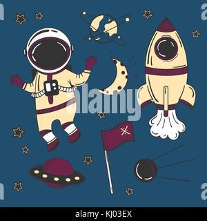 L'espace dessin animé astronaute Banque D'Images