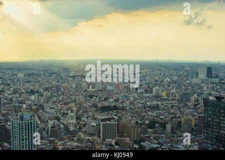 Vue sur Tokyo, Japon du 45e (202m)-de-chaussée de l'immeuble du gouvernement métropolitain. qu'une ville dynamique! Banque D'Images
