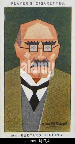 Le lecteur de carte cigarette représentant Joseph Rudyard Kipling (1865 - 1936). English journaliste, écrivain, Banque D'Images