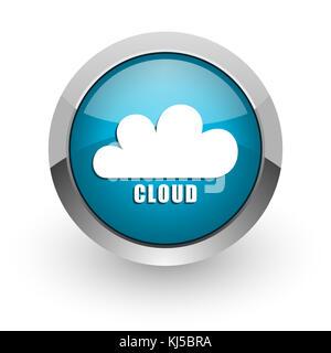 Argent métallisé bleu nuage chrome web frontaliers et l'icône de téléphone mobile sur fond blanc avec ombre Banque D'Images