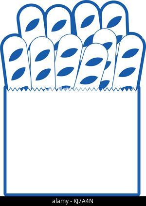 Sac de papier avec du pain français en bleu silhouette Banque D'Images