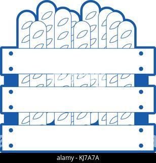 Panier en bois avec des pains français en bleu silhouette Banque D'Images