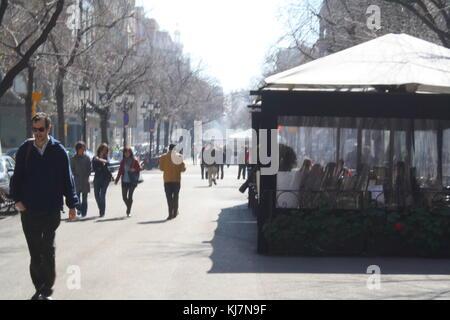 La rue de la rambla de Barcelone, Espagne. Banque D'Images