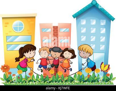 Illustration des enfants jouant à l'extérieur de l'édifice, sur un fond blanc Banque D'Images