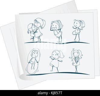 Illustration d'un papier avec un dessin d'enfants qui jouent sur un fond blanc Banque D'Images