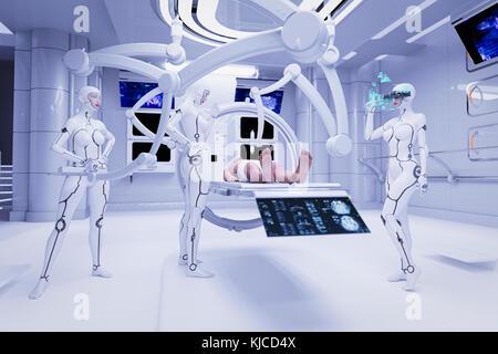 Les femmes d'effectuer l'examen médical du robot sur l'homme Banque D'Images