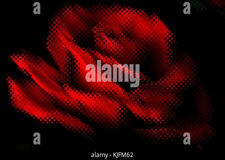 Résumé arrière-plan décoratif avec des lignes rouges et des chiffres sous la forme d'une rose sur un fond noir Banque D'Images